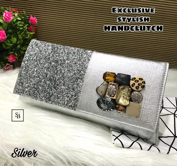 Floral Unique Clutch - Silver