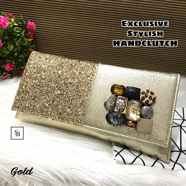 Floral Unique Clutch - Gold