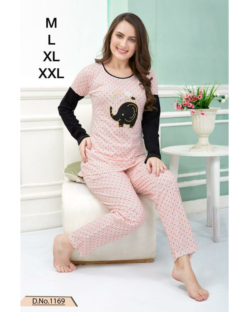 Night Suit Full Sleeve - Baby Pink