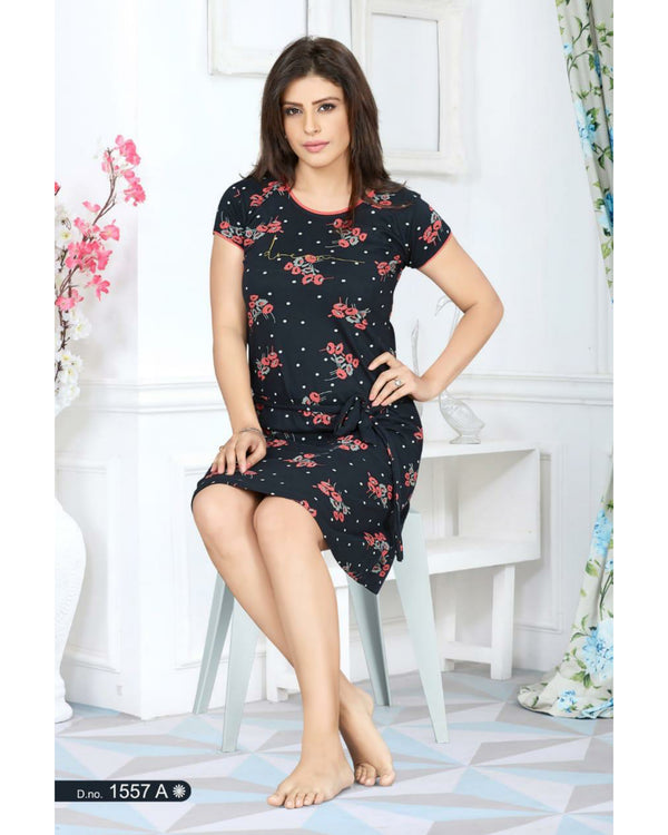 Printed Nightwear  - Black