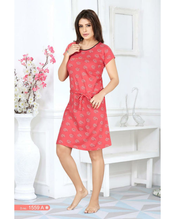 Printed Nightwear  - Red