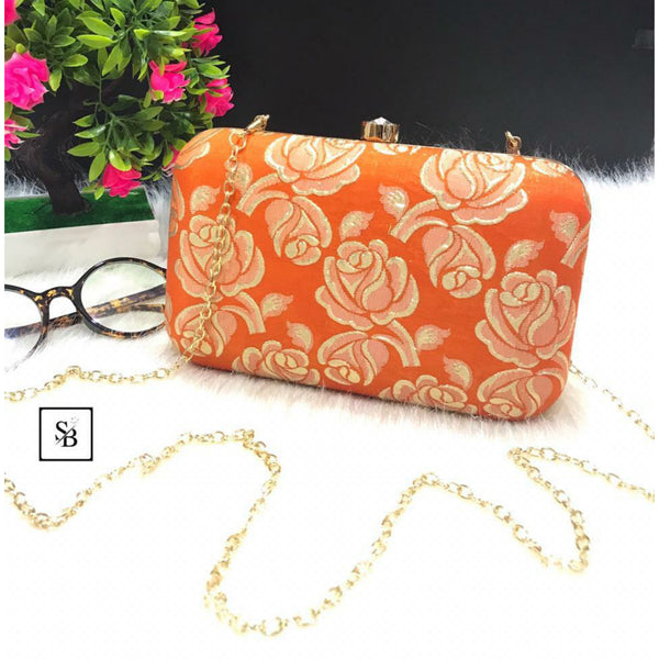 Weeding Clutch With Chain Strap - Orange