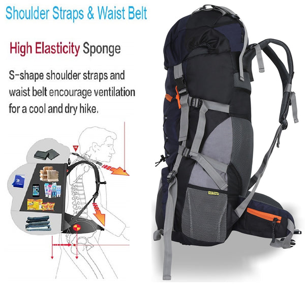 Yo! Navy Hiking Camping Backpack 65L With Rain Cover