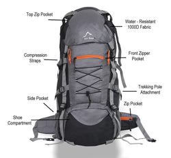 Yo! Grey Hiking Camping Backpack 65L With Rain Cover