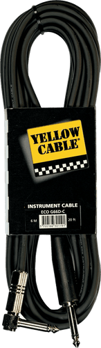 Yellow Cable Gitarkabel G66D-C MOLDED JACK/RIGHT ANGLE MET JACK 20FT/6M