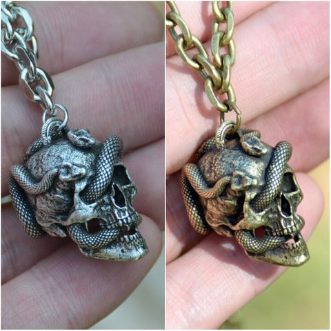 Snake-Skull-Pendant-Wicca-Gothic-Necklace-Punk-Jewelry