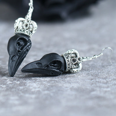 3D Gothic Raven Earrings