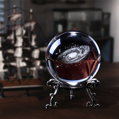 3D Laser Engraved Galaxy Universe Spirit Crystal Ball