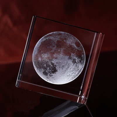 3D Laser Engraved Moon Crystal Cube