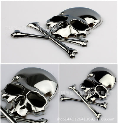 Metal Skull and Crossbones Emblem Sticker