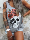 Rose Floral Skull Sleeveless Tank Top