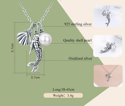 Mermaid Pearl & Shell Sterling Silver Necklace