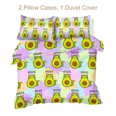 Avocado Cartoon Cat Bedding Set