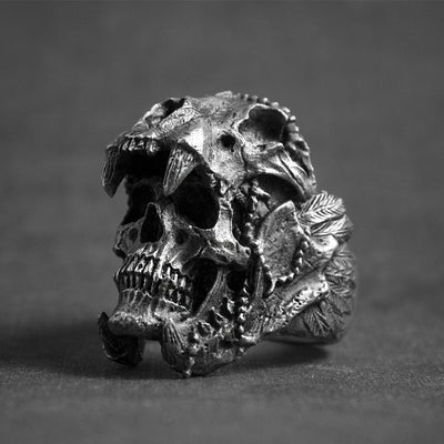 Stainless Steel Saber-tooth Skull Warrior Ring