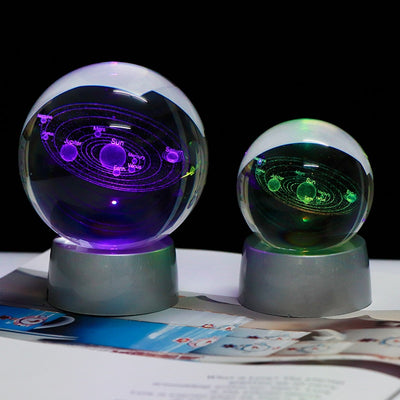 Colorful 3D Solar System Crystal Ball