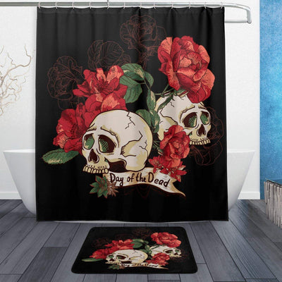 Day of the Dead Flower Skull Shower Curtain and Doormat