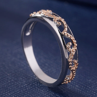 Skull Rose Gold Crystal CZ Double Ring