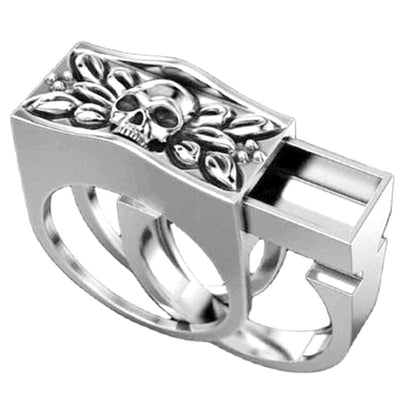 Hidden Compartment Skull Ring