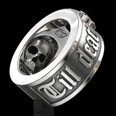 'Till Death Do Us Part' Black Crystal Skull Ring