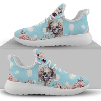 Women's Skull with Roses Pattern Blue or Pink Lace Up Sneakers