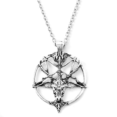 Retro Pentagram Skull Goat Head Chain necklace