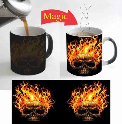 Fire on Skull Magic Mug 11 Oz