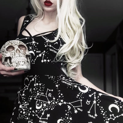 Gothic Black Sleeveless Dress