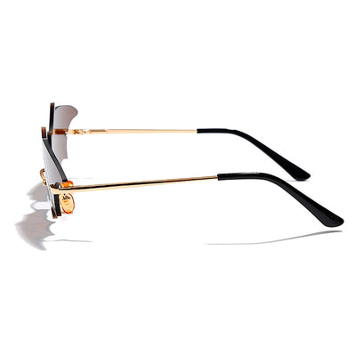 Gothic Bat Mirror Retro Rimless Sunglasses