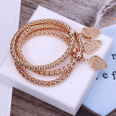 3Pcs Hollow Charms Bracelets & Bangles For Women Gold Mix Silver Color