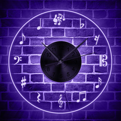 Music Notes LED Wall Clock