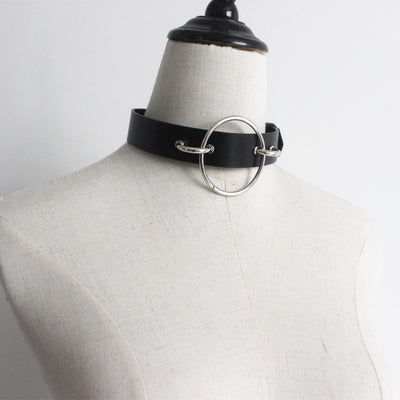 Leather Big O Ring Metal Waist Chain Buckle Belt
