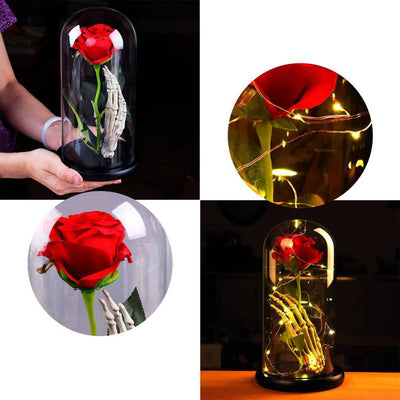 Eternal Rose With Skull Hand Glass Cover
