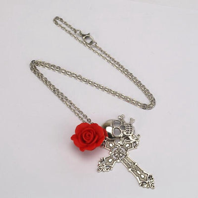 Red Rose Skull Necklace