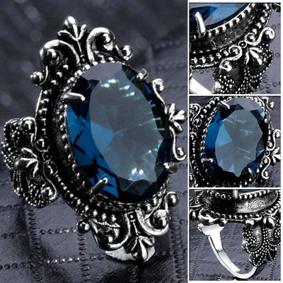Gothic Sea Blue Stone Crystal Ring