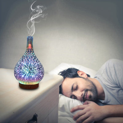 3D Fireworks Glass Vase Humidifier & Oil Diffuser