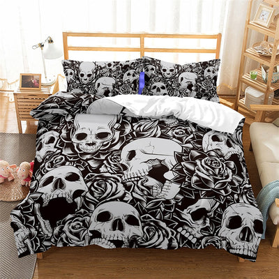 3D Skull Flower Print Pillowcases