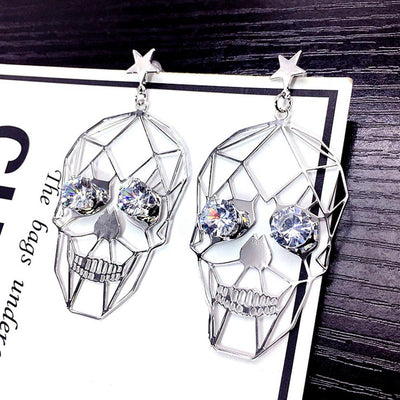 Vintage Punk Metallic Hollow Skull Earrings