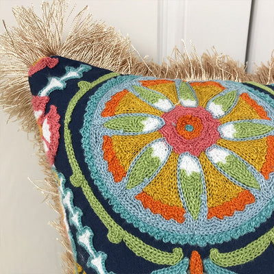 Fringe Ethnic Pattern Embroidery Pillow Case
