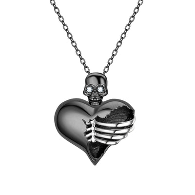 Skull Heart Punk Crystal Necklace