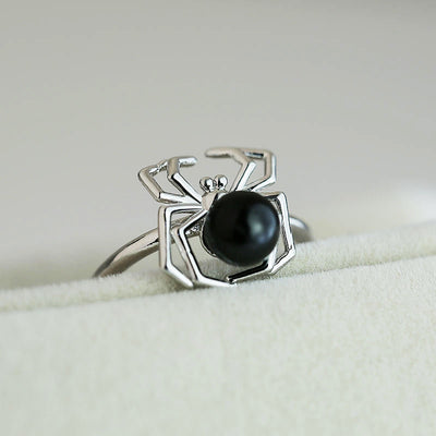 Black Spider Halloween Gothic Ring