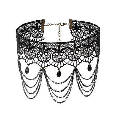 Gothic Black Beaded Lace Choker Necklace