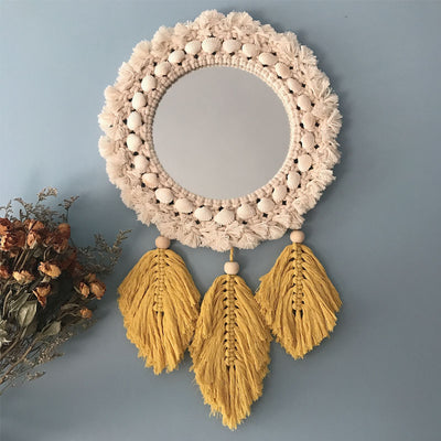 Fringed Feather Round Wall Mirror