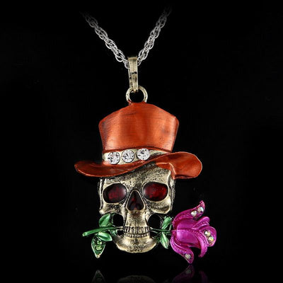 Long Jewelry Sweater Necklace Clear Crystal Skull Flowers Jewelry