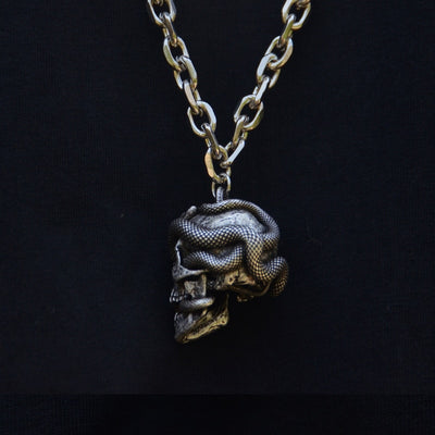 Snake Skull Pendant Wicca Gothic Necklace Punk Jewelry