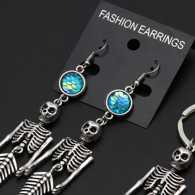 Mermaid Skeleton Silver Tone Hook Dangle Earrings
