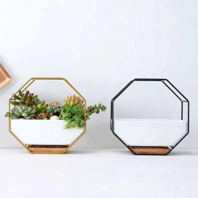 Nordic Modern Ceramic Iron Planter