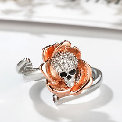 Sterling Silver Two-tone Flower Skull Ring