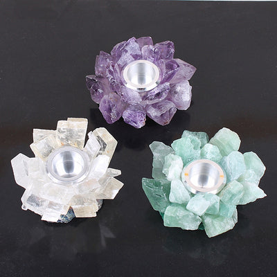 Crystal Quartz Candle Holders