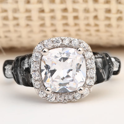 Clear Square CZ Skull Ring