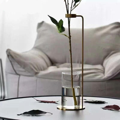 Baylor - Modern Nordic Iron Tabletop Vase with Glass Cup